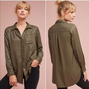 Anthropologie Maeve sequin Button Down Shirt